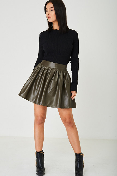 Faux Leather Khaki Skirt