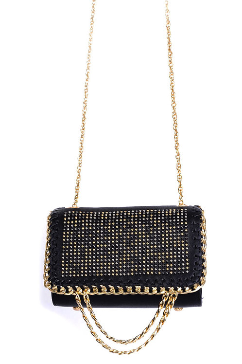 Embellished Black Shoulder Bag
