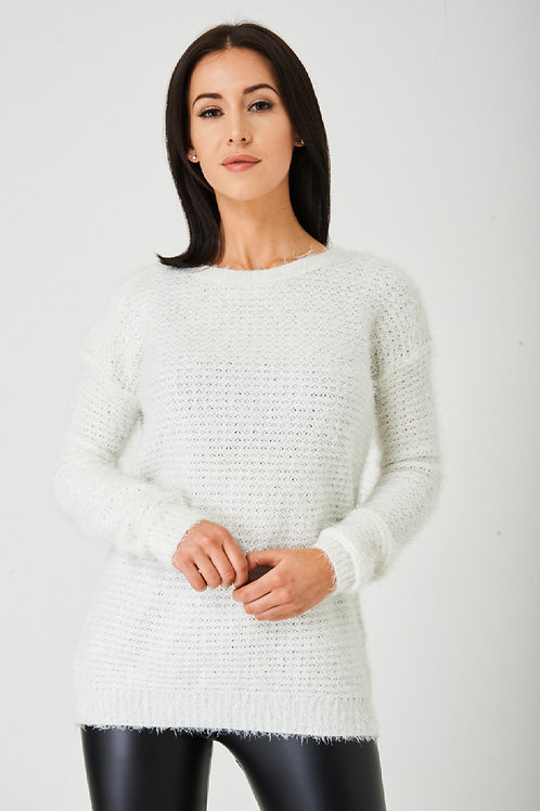Off White Fluffy Jumper Ex