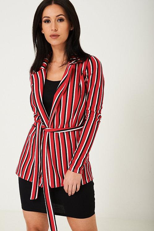 Red Blazer in Stripes