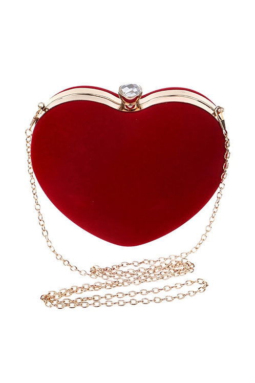 Velvet Love Heart Clutch Bag