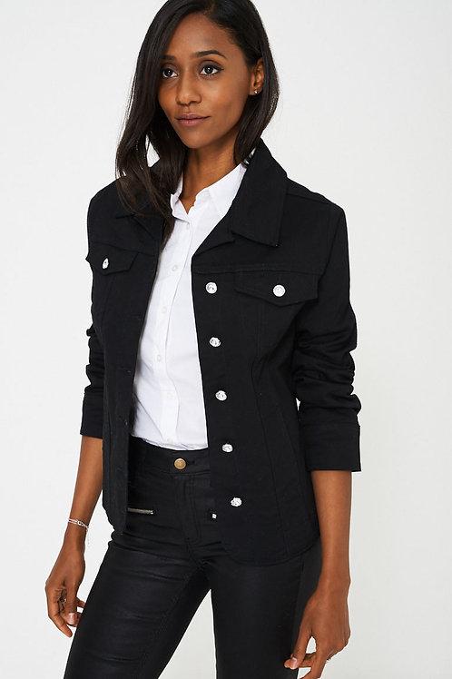 Diamond Button Black Jacket