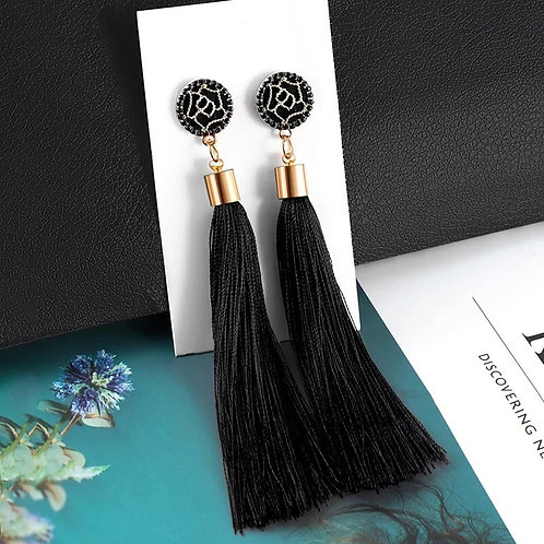 Long Black Tassel Earrings