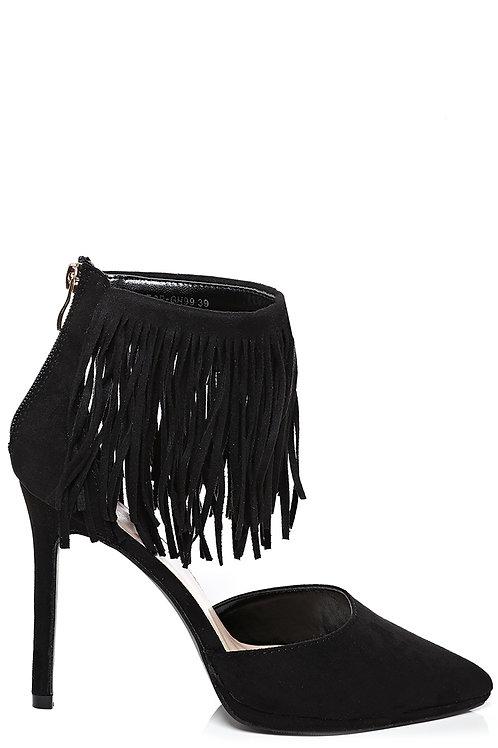 Pointy Fringe Stiletto Heel in Black