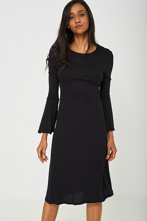 Bell Sleeve Dress in Black