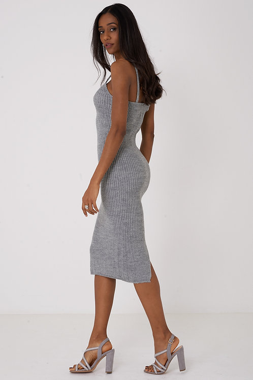 Knitted Cami Dress in Grey