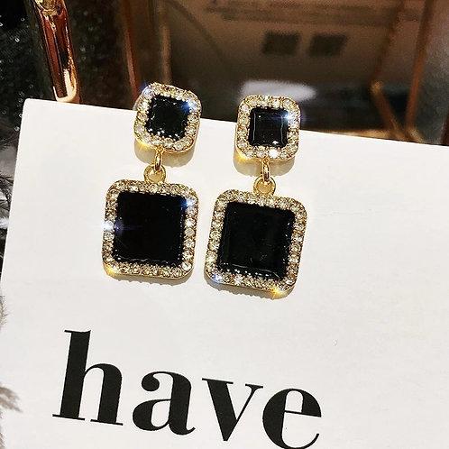 Black Elegance Block Earrings