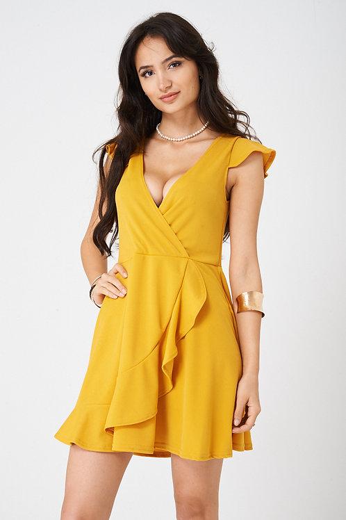 Wrap Front Yellow Skater Dress