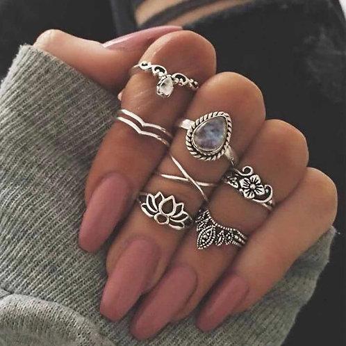 Fashion Quartz 7 Pcs Ring Set