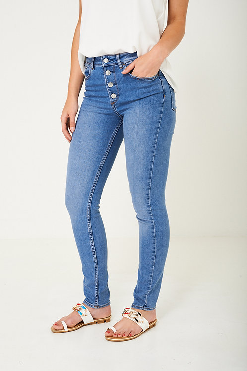 Blue Button Skinny Jeans