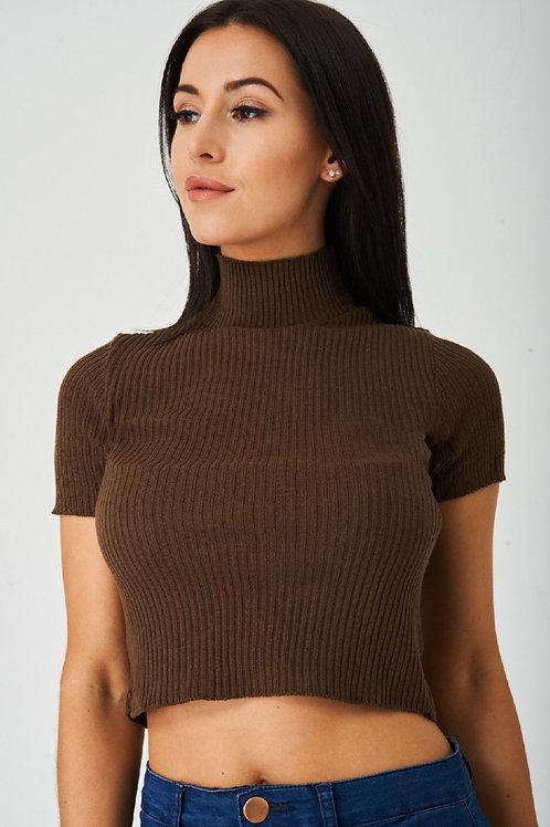 Brown Ribbed Crop Top