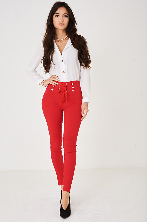 Lace Up Waist Red Skinny Trousers
