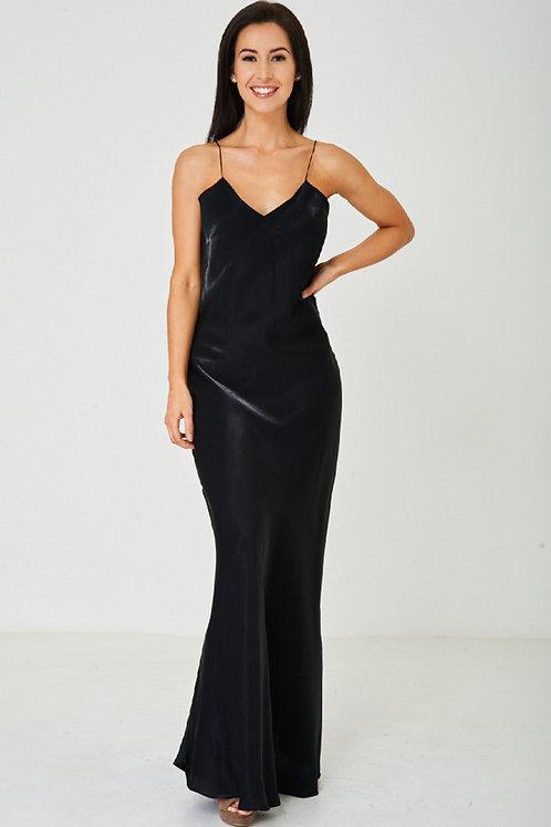 Black Satin Fishtail Maxi Dress