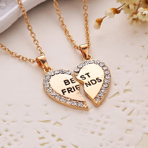 2 Pcs Best Friends Heart Necklace