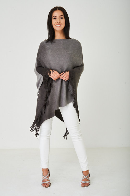 Grey Ombre Bat Wing Poncho