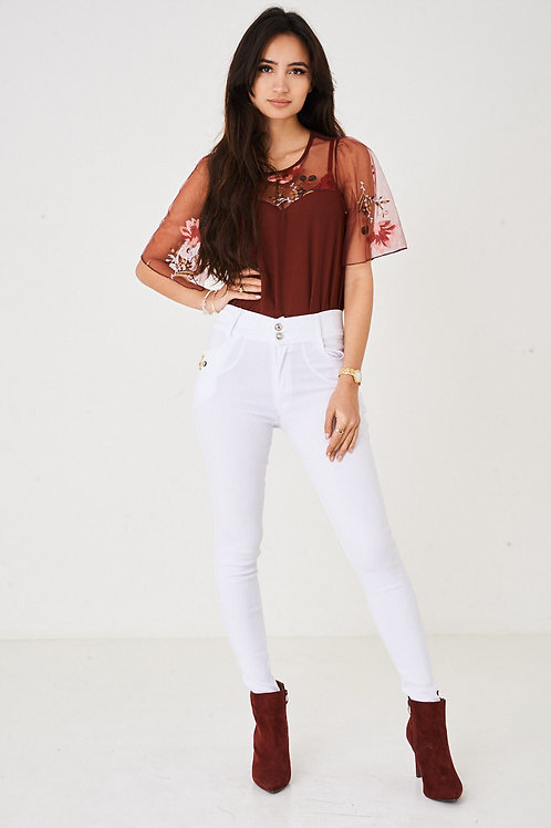 High Waisted White Skinny Trousers
