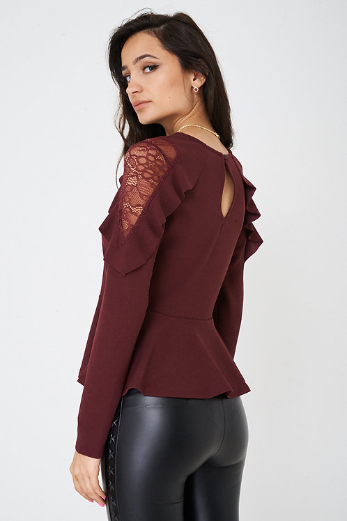 Burgundy Peplum Top with Lace and Frill Detail