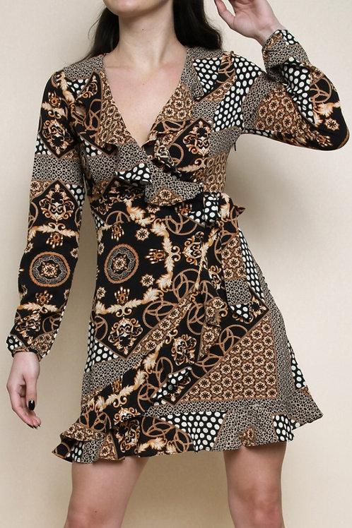 Print Wrap Skater Dress