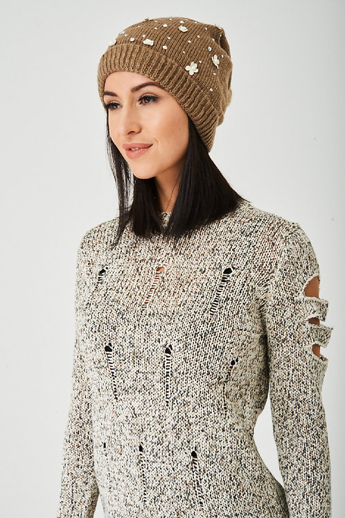 Embellished Mocha Beanie Hat