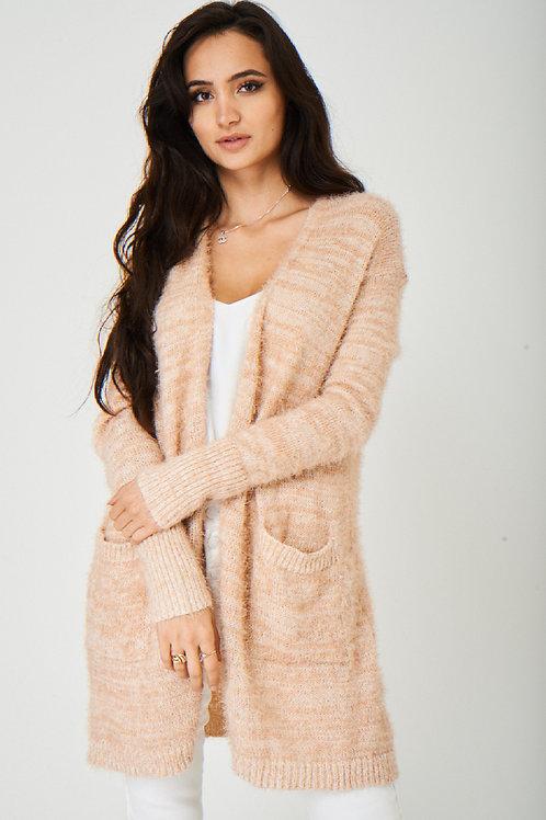 Pink Fluffy Longline Cardigan