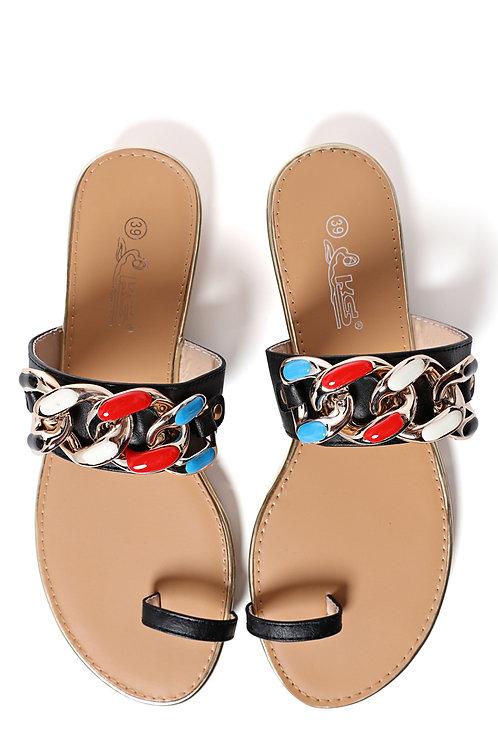 Chain Embellished Slide Sandals In Black