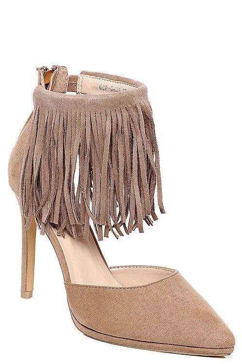 Pointy Fringe Stiletto Heel in Mocha