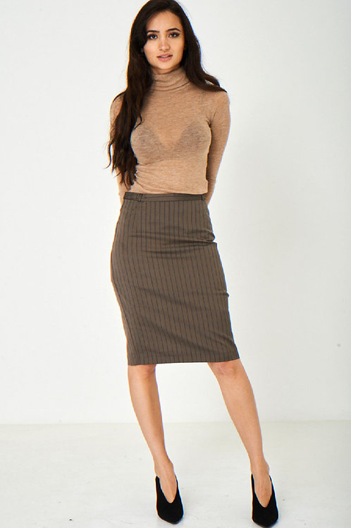 Brown Office Skirt