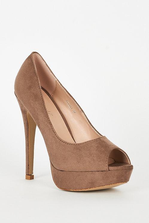 Beige Faux Suede High Heel Platform Shoes