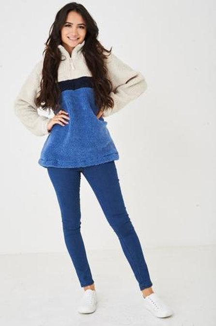 Shera High Neck Zip Up Long Sleeve Chunky Fleece Jumper