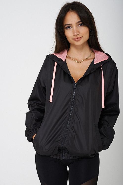 Black Windbreaker Jacket with Hoodie