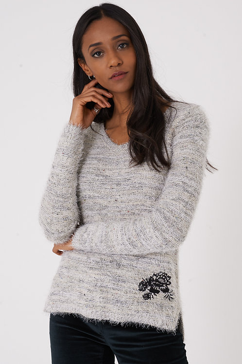 Fluffy Jumper with Embroidery