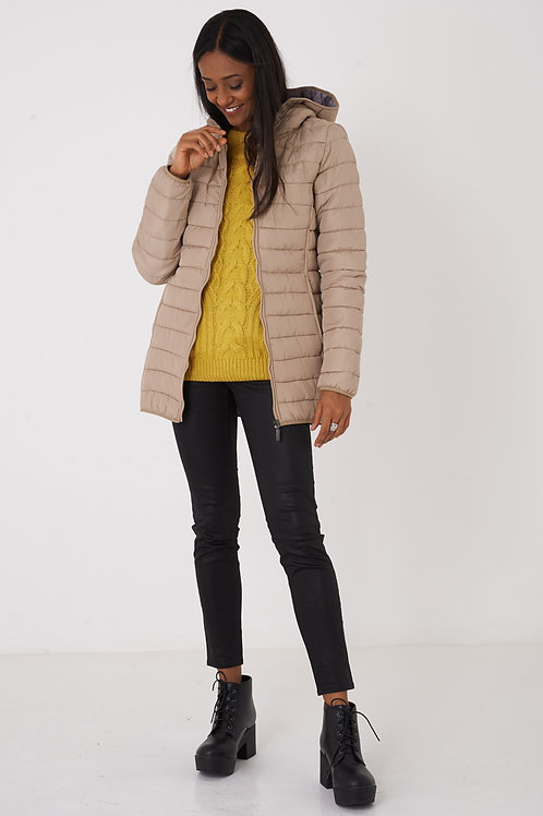 Tube Quilted Beige Hooded Jacket