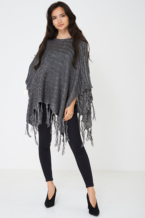 Grey 3/4 length Poncho with Metallic Insert