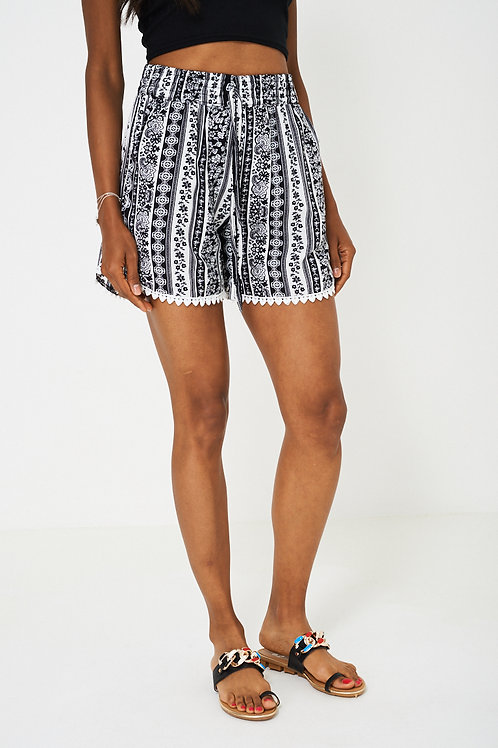 Crochet Detail Shorts in Aztec Print