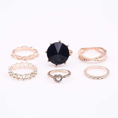 6 Pcs Black Gem Hollow Joint Ring Set