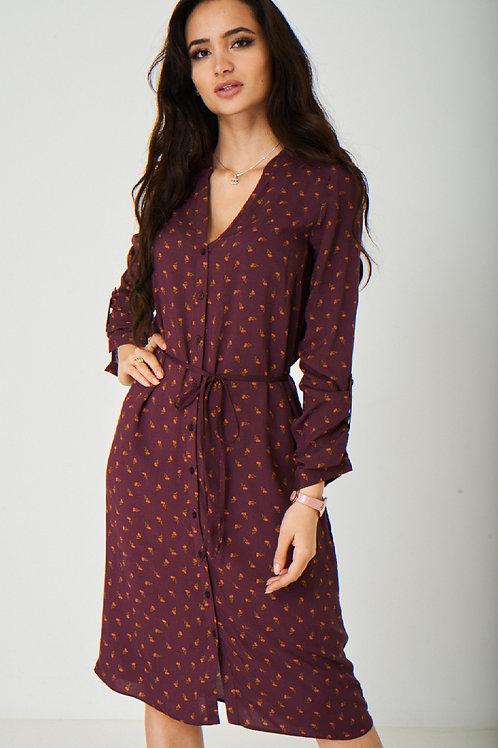 Burgundy Shift Dress.