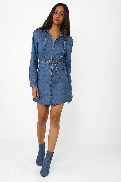 Frill Detail Denim Blue Shirt Dress