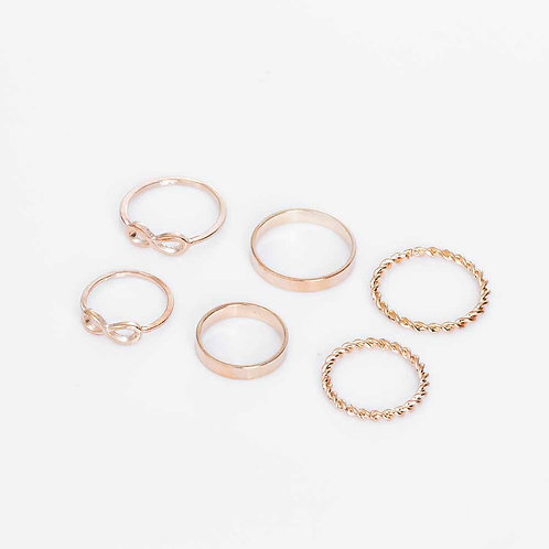 Double Infinity Gold Alloy Ring Set