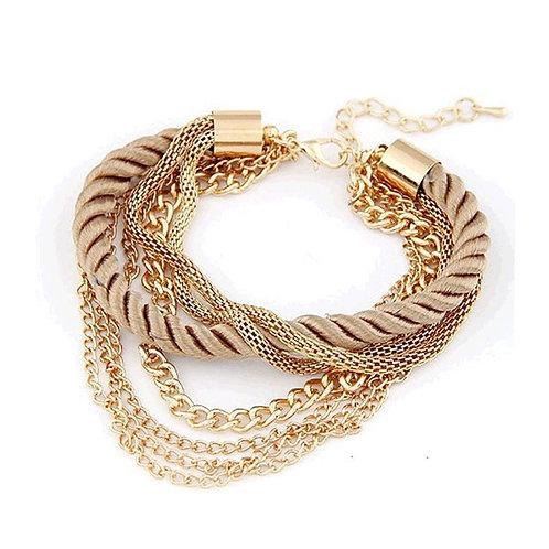 Charming Gold Woven Rope Bracelet