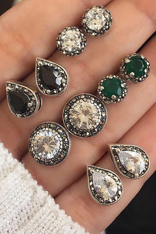5 Pairs Green Rhinestone Earrings Set