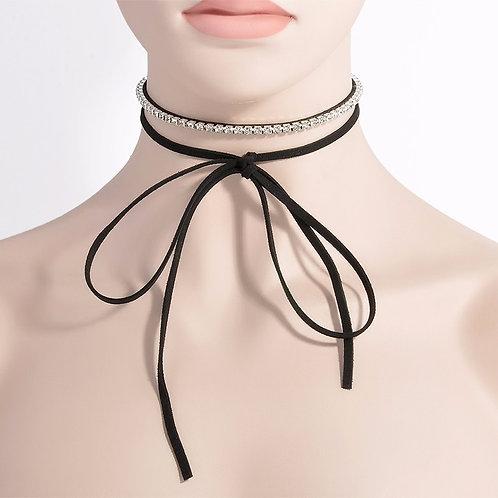 Black Velvet Wrap Rhinestone Choker