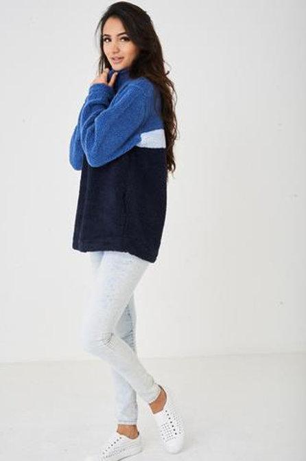 Huawa High Neck Zip Up Long Sleeve Chunky Fleece Jumper