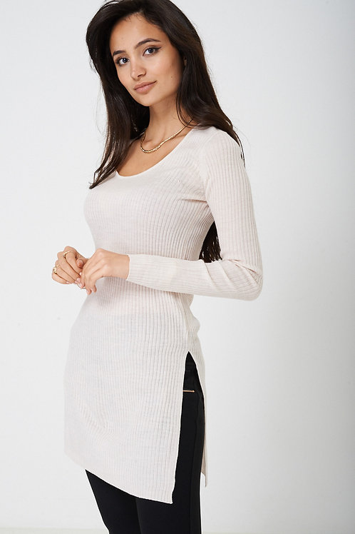 Ribbed Top with Side Slit