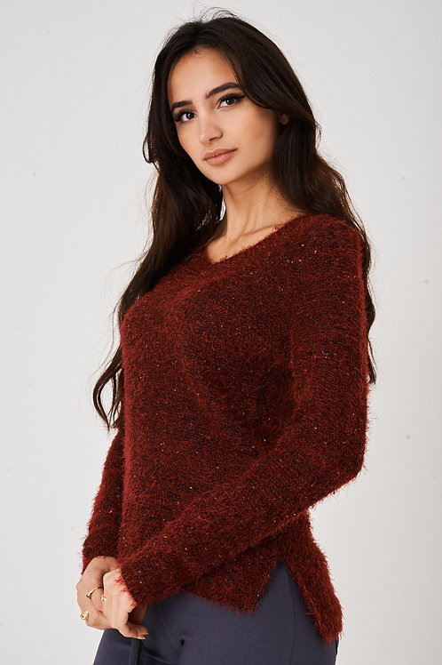 Burgundy Fluffy Jumper with Embroidery