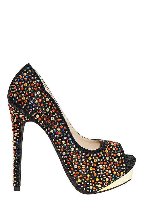 Embellished Peep Toe High Heels