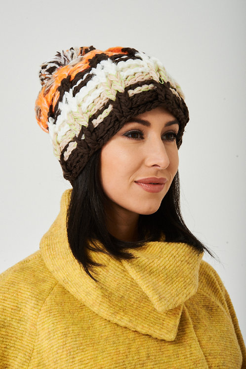Multicolor Pom Beanie in Chunky Knit