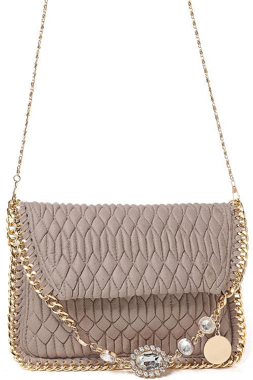 Embellished Quilted Shoulder Bag in Mocha