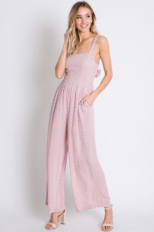 fashionable patterns the latest brand quality Pink Polkadot Jumpsuit