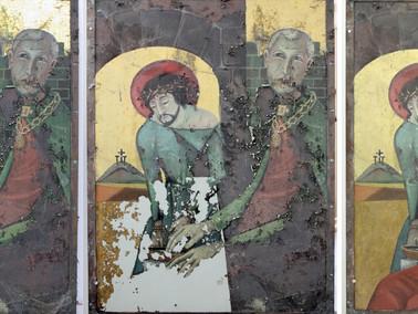 Teilfestigung,Kittung und Retusche an einer Malerei auf Kupfer