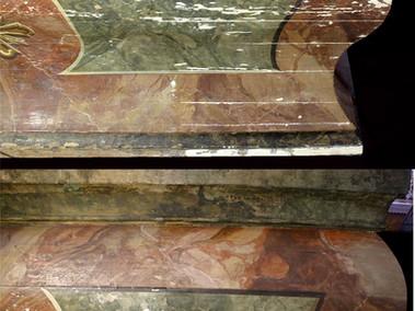 Restaurierung eines Antependiums Bild oben:  nach der Kittung der Fehlstellen Bild unten: nach erfolgter Retusche